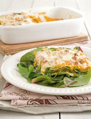 Lasagne van butternutpompoen en rucola